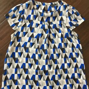 Theory Small Silk Geometric Blue GrayWhite Blouse